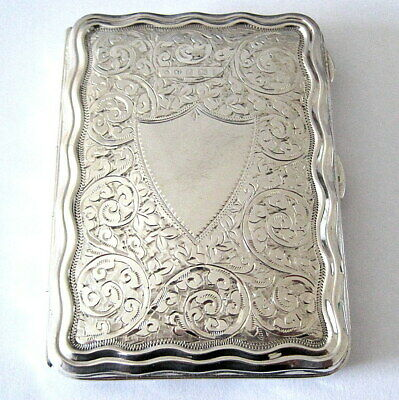 *MINT* Hallmarked 1910 ANTIQUE SOLID STERLING SILVER & GREEN LEATHER CARD CASE