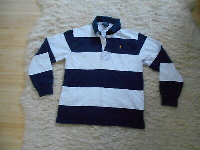 Polo By Ralph Lauren Cotton Blue/White Striped Rugby Style Shirt - M/12yrs