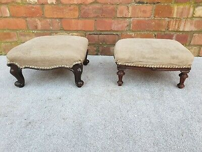 Pair Victorian footstools antique matching upholstery design