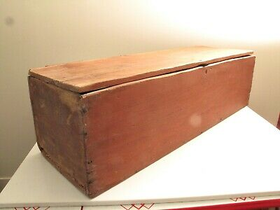 Antique Aafa Primitive Small Blanket Box Chest Red Oxblood Paint Rose Head Nails