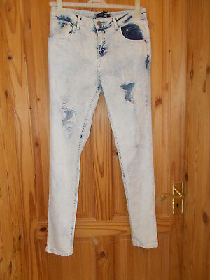 SELECT blue stretch bleachwash ripped frayed distressed skinny jeans BNWT 12 40