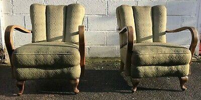 Vintage  Bentwood Armchairs Matching Pair Mid Century