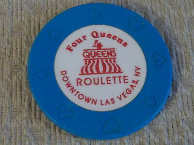FOUR (4) QUEENS HOTEL CASINO ROULETTE hotel gaming poker chip ~ Las Vegas, NV