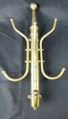 Gorgeous ANTIQUE Brass Wall Mounted Coat Hat Rack Salvaged Great Patina