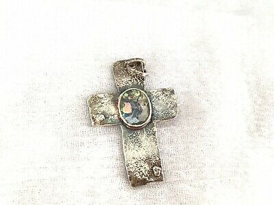 Ancient Roman Glass Hand Pourd Sterling Silver Cross Pendant~Israel