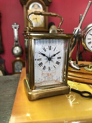 Antique French Timepiece Carriage Clock Rare Dial Lever Working Well 1890