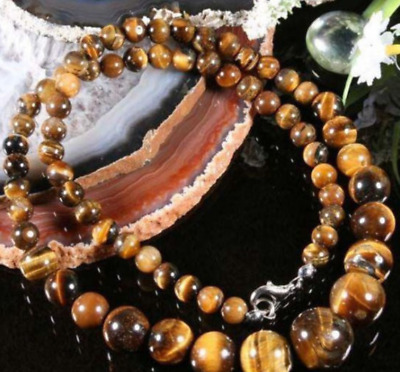 """Natural! 6-14MM YELLOW TIGER EYE GEMS STONE ROUND BEADS NECKLACE 18""""AAA"""