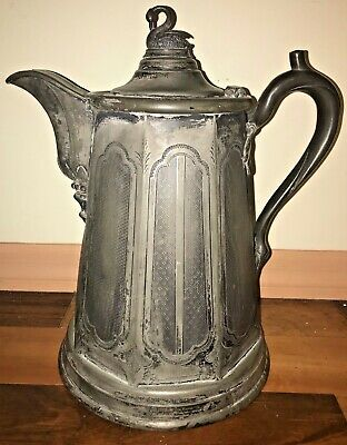 Antique  Meriden Britannia Victorian Double Wall Silver-plate Water Pitcher