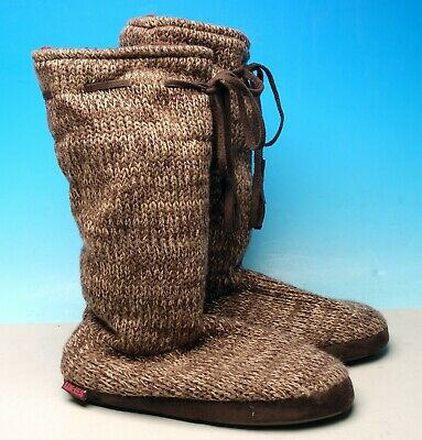 Luk-Ees Muk Luks Brown Mid Calf Boots Slippers Womens M 7-8,Great