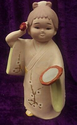 "Hakata Doll Japanese Geisha Girl Japan Sata Hakata Doll Co. 9.75"" tall 1950's"