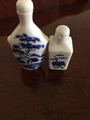 Crane Blue and White Snuff Bottles (2)