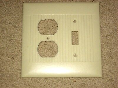 Vintage NOS LARGE Ivory 2-Gang Switch/OUT Ribbed Plate Bakelite Sierra Electric