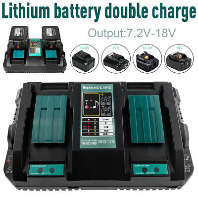 Fast Rapid Double Twin Battery Charger USB Port For Makita DC18RC LXT 7.2V -18V