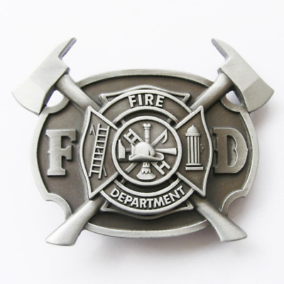 Western Men's Zinc alloy Leather Belt Buckle Firefighter FD Cross shape...