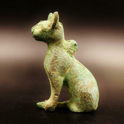 Rare Ancient Egyptian Copper Cat BASTET (Bes) Amulet Figurine