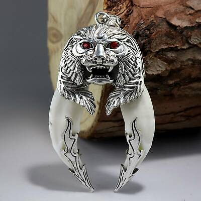 Collect China Unique Miao Silver Inlay Wolf Tooth Carve Roar Lion Decor Pendant