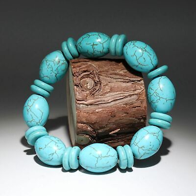 Collectable China Old Turquoise Hand-Carved Smooth Delicate Noble Decor Bracelet