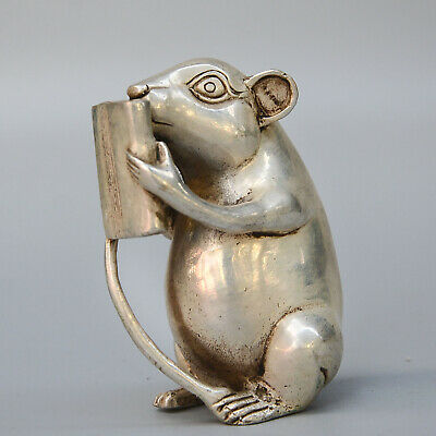 Collect China Old Miao Silver Carve Mouse Read Book Unique Interesting Statue