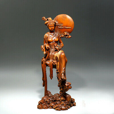 Collectable China Old Boxwood Hand-Carved Fairy Chang E Delicate Decor Statue