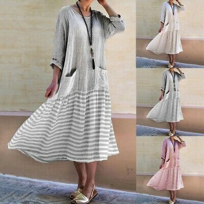 Womens Summer Kaftan Loose Casual Round Neck Striped Cotton Linen MIDI Dress