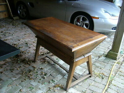 Vintage French Dough Bin On Stand, In Oak Or Elm  With Lid. [ I Think Its Oak]