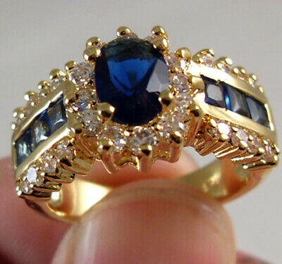 Fashion Jewelry Women's Blue Sapphire Gold Filled Wedding Rings Gift Size 9