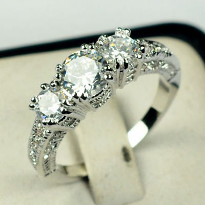 Size8 White Sapphire 925 Silver Wedding Band Ring 10KT White Gold Filled Jewelry