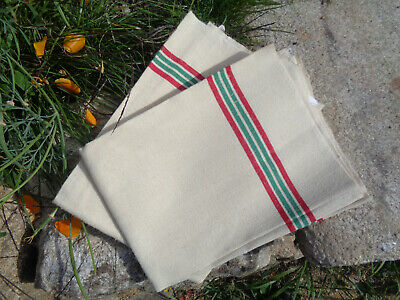 Pair French Unused Vintage Metis Striped Tea Towels / Torchon. New old stock.