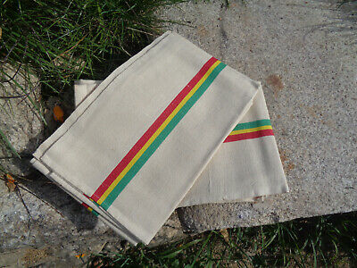 French Unused Pair Vintage Metis Striped Tea Towels / Torchon Yellow red green.
