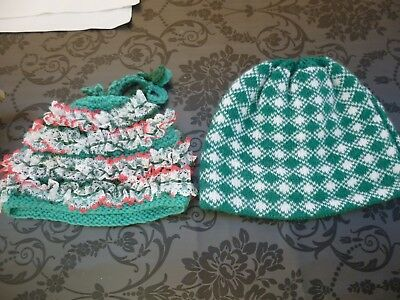 2 Green Knitted Tea Cosies.