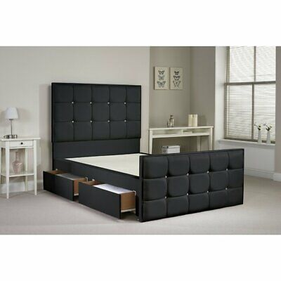 California Faux Leather Divan Cube Bed 3Ft 4Ft 4Ft6 5Ft 6Ft Drawer Storage Bed