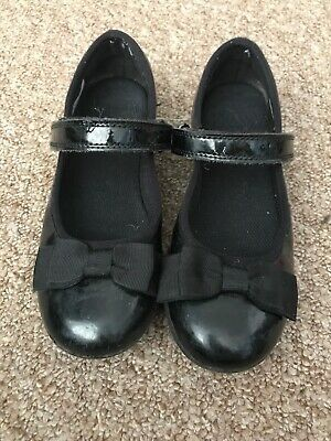 Clarks Girls Shoes Black Bow Size 13F