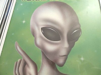 """Rare Vintage Scifi Picture, """"We Are Out There"""" Framed In Glass Measures 8X8"""
