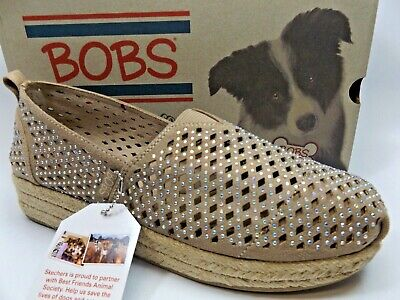 Bobs By Skechers Womens Glamsquad Taupe Gem Espadrilles Shoes SZ 10.0 M,  D14381