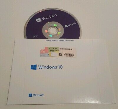 Microsoft Windows 10 Professional PRO 64Bit Full Version DVD+ Key