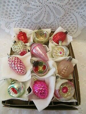 Lot Of 12 Antique Feather Tree  Xmas Ornaments Pinks Shapes Indents W/ Box