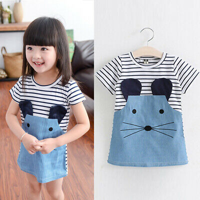Kids Girls Children Toddler Casual Short Sleeve Striped Cotton Dress For 1-7Y