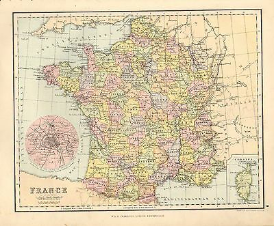 1880 Victorian Map ~ France In Departments ~ Environs Paris ~ Corsica