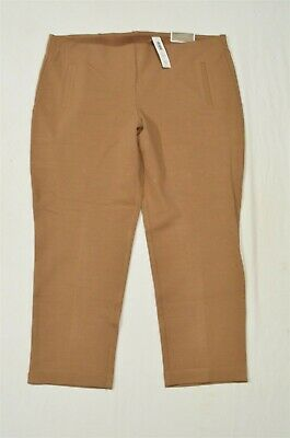 NEW Chicos 3.5 / 18 Ankle Dark Butterscotch Tan Ponte Juliet Pull On Dress Pants