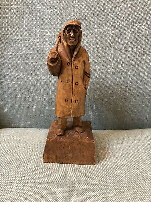 "8"" Folk Art Wood Carving by V Fortin Quebec Signed Canada Man Hobo Traveler"