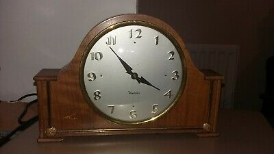 Vintage Westclox Wooden Mantle Wind Up Clock Made in Scotland