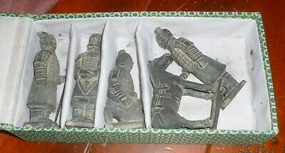 Lot/5 CHINESE TERRA COTTA WARRIOR FIGURINES 4 Soldiers & Horse w/ Orig Cloth BOX