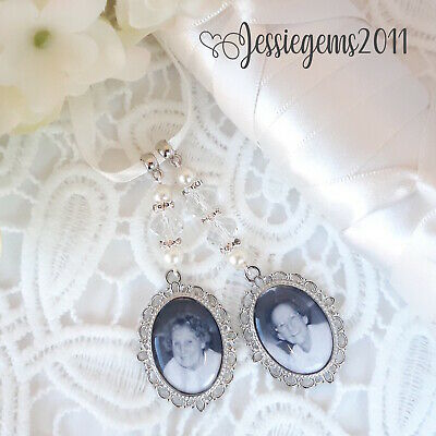 Bridal bouquet photo memory charm double oval frame
