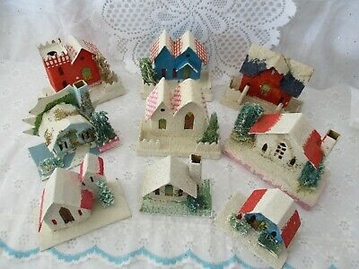 Lot Of 9 Assorted Vintage Christmas Putz Cardboard Houses Churches Trees Japan