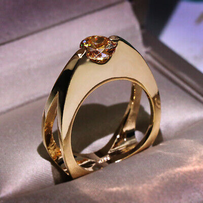 Rose Gold Unique Geometric Champagne Topaz Wedding Ring Engagement Jewelry Gifts