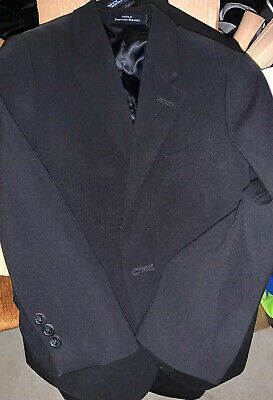 Boys Calvin Klein Suit Jacket Sz 7 Reg Black 2 Button Front 3 Button Sleeve