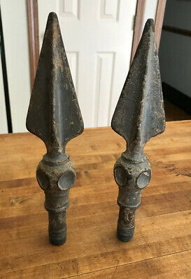 2 Antique / Vintage Cast Iron Wrought Iron Fence Post Finials