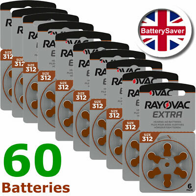 Eighty (80) x Rayovac size 312 (Brown) Extra Advanced Hearing Aid Batteries