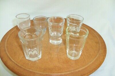 6 Vintage Clear Shot Glasses