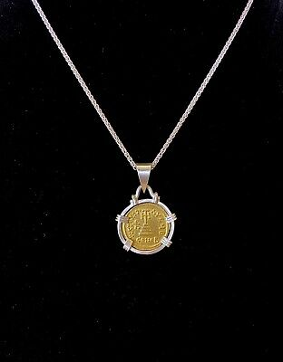 Ancient Solid Gold Coin Heraclius Necklace Byzantine Empire Solidus